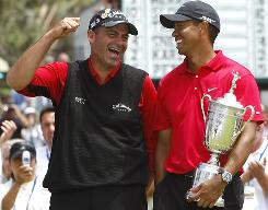 Of all the memories in a memorable year, the epic duel between Rocco Mediate, left, and Tiger Woods at the U.S. Open in June is the most memorable. Woods beat Mediate in a 19-hole playoff on Monday to claim his 14th major title, and he did it despite stress fractures in his left tibia and with a ruptured anterior cruciate ligament in his left knee. Woods had reconstructive knee surgery two days after his victory, ending his season.