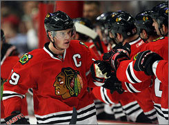 Young captain Jonathan Toews is just one reason why the Chicago Blackhawks fans have reason to be optimistic. The Blackhawks have eight players with more than 20 points on the season.
