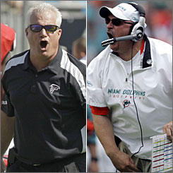 Atlanta's Mike Smith, left, and Miami's Tony Sparano turned teams that were sub-.500 in 2007 into playoff participants this season.