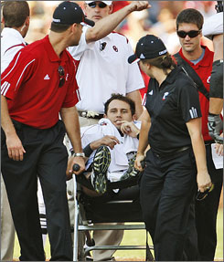 The outlook for Cincinnati quarterback Dustin Grutza changed after his broken leg against Oklahoma.