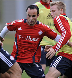 MLS star Landon Donovan, left, will be playing on loan in Germany for Bayern Munich.
