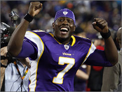 Minnesota QB Tarvaris Jackson lost his job after Week 2, only to relieve an injured Gus Frerotte in December and lead the Vikings to three wins that clinched the NFC North title.