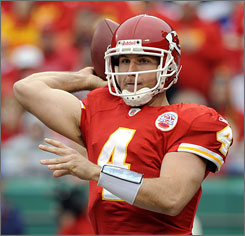 In Week 10, Chiefs QB Tyler Thigpen threw for 266 yards and three TDs.