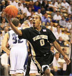 Wake Forest's Jeff Teague goes in for an uncontested layup against Brigham Young during the first half of their game in Provo, Utah. Teague scored 30 points.