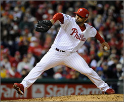 "Philadelphia Phillies reliever J.C. Romero, shown here pitching against the Tampa Bay Rays in Game 3 of the World Series, believes he did nothing wrong. ""I didn't cheat. I tried to follow the rules."""
