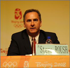 USOC chief of sport performance Steve Roush at a press conference just days before the Beijing Games began. One of his main accomplishments was helping the U.S. win the medal total in China.