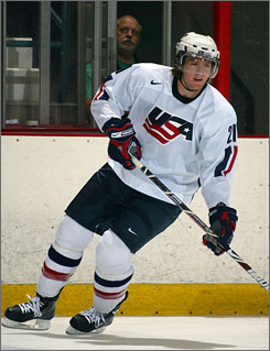 James vanRiemsdyk scored six goals in six games as Team USA competed in the world junior championships last week.