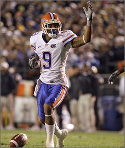 "Florida quarterback Tim Tebow says of Louis Murphy, above, ""He does what it takes and cares about his team more than himself."""