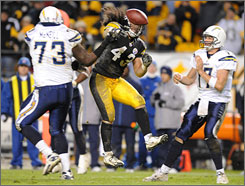 Steelers S Troy Polamalu disrupted the Chargers' last-gasp attempt at a comeback in an 11-10 Pittsburgh win in November.