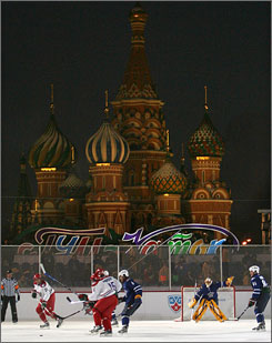 The KHL All-Star Game, matching the Russian stars against international players, was played on Red Square in Moscow on Saturday.
