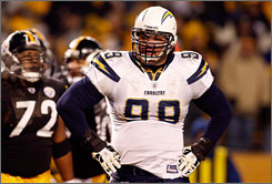 The luck ran out for Igor Olshansky and the Chargers, who won five straight games before Sunday's loss.