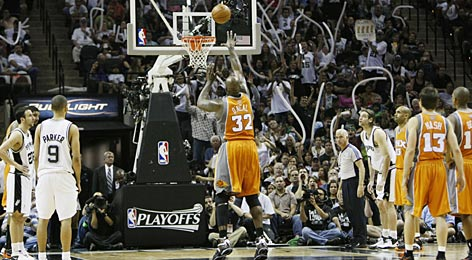 Shaquille O'Neal, seen missing against the Spurs in the 2008 NBA playoffs, has enjoyed a free-throw shooting rebirth in 2009, starting the new year with better resolution and a 17-of-20 streak from the foul line.