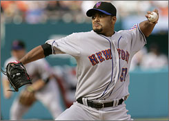 Johan Santana underwent surgery to repair a torn meniscus in his left knee on Oct. 1, 2008.