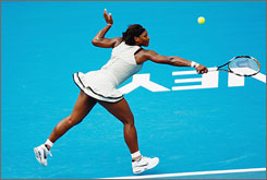 Serena Williams plays a backhand during her semifinal match against Elena Dementieva in the Sydney International in Australia.