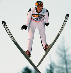 American Bill Demong usually needs a strong ski leg to compensate for lesser finishes in the jumping leg of Nordic combined competitions.