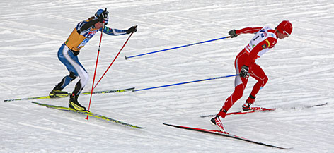 Todd Lodwick (in red) has returned to World Cup action in Nordic combined and recorded a pair of silver medals after sitting out two seasons.