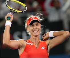 Elena Dementieva celebrates her Sydney win.