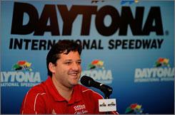 "Sprint Cup driver Tony Stewart speaks with the media during NASCAR's ""Preseason Thunder Fan Fest"" at Daytona International Speedway in Daytona Beach, Fla."