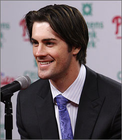 Cole Hamels reacts to a question after announcing his new contract with the Philadelphia Phillies on Sunday.