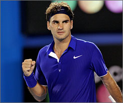 Roger Federer sported a determined look during his opening-day victory over Andreas Seppi at the Australian Open.