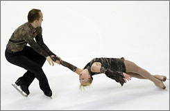 Jeremy Barrett, left, and Caydee Denney perform a near-flawless routine in the U.S. Figure Skating Championships.