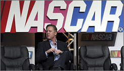 NASCAR chairman Brian France fields questions during the closing day of the Sprint Media Tour.