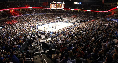 Thunder fans fill the gym again at Oklahoma City's Ford Center, where the team has enjoyed an impressive attendance rate of 97% capacity in its first season. The figure puts them in the NBA's top 10 for attendance percentage.