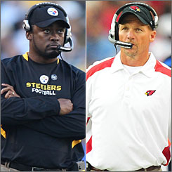 Second-year coaches MIke Tomlin, left, of the Steelers and Ken Whisenhunt of the Cardinals are part of a league-wide trend embracing more inexperienced head coaches.