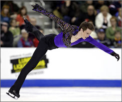 Jeremy Abbott competes in the free skate at the U.S. figure skating championships on Sunday in Cleveland. Abbott earned his first national title with the effort.