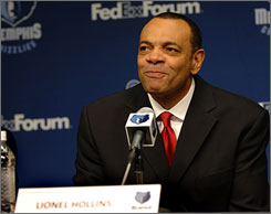 Lionel Hollins is introduced as the new coach of the Memphis Grizzlies on Sunday.