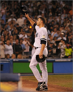 Andy Pettitte walks off the mound in the final game at old Yankee Stadium. The team is moving into a new ballpark for the 2009 season and Pettitte will be back to pitch in it.