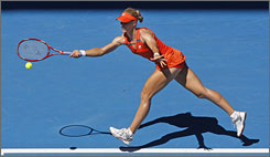Russia's Elena Dementieva stretches to hit a forehand to Spain's Carla Suarez Navarro during their quarterfinal match. Dementieva, the No. 4 seed, cruised into the semifinals with a 6-2, 6-2 win.