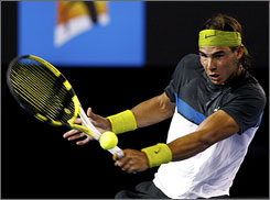 "Rafael Nadal, above, beat Gilles Simon 6-2, 7-5, 7-5 in the quarterfinals. ""He's able to run,"" Simon says. ""He can attack. He can come to the net when it's important."""