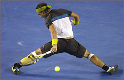 Spain's Rafael Nadal makes a backhand return to compatriot Fernando Verdasco during their Aussie Open semifinal.