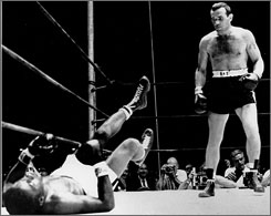The highlight of Ingemar Johansson's boxing career was his unexpected knockout of Floyd Patterson in 1959 that earned the him the world heavyweight title.