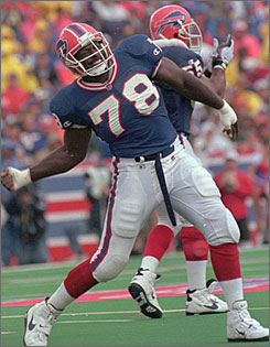 Bruce Smith is the NFL's all-time sack leader and a two-time Defensive Player of the Year award winner. He also made the Pro Bowl 11 times and led the Buffalo Bills to four straight Super Bowls.