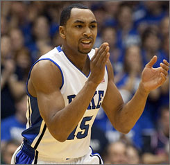 Gerald Henderson scored 18 points for Duke as it upended Virginia 79-54 Sunday in Durham, N.C.