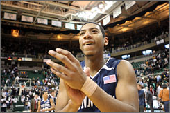 Penn State forward Andrew Jones celebrates after a four-point road win, the Nittany Lions' fourth straight victory in Big Ten play.