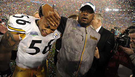 Mike Tomlin, right, became the youngest coach to win a Super Bowl by leading the Steelers to their sixth championship.