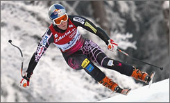 Lindsey Vonn makes a turn on the Kandahar slope on the way to the 18th World Cup skiing victory of her career.