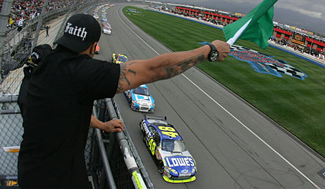 Jimmie Johnson leads the field to the start at last February's race at Fontana, Calif. Johnson will be vying for an unprecedented fourth consecutive Sprint Cup crown this season.