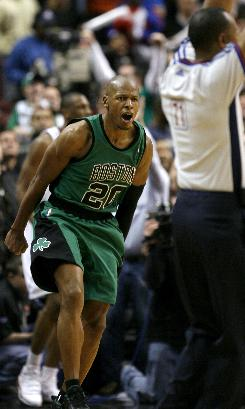 Celtics guard Ray Allen reacts after shooting the game-winning three-pointer against the 76ers with 0.5 seconds remaining in their game in Philadelphia. Boston's 100-99 victory was its 12th in a row.
