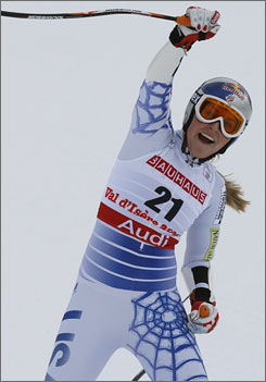 American Lindsey Vonn reacts to finishing her run and winning the Super-G world title on Tuesday.