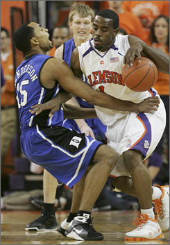 K.C. Rivers, knocking down Duke's Gerald Henderson while driving to the basket in the first half, notched a Clemson record seven steals in the Tigers' blowout victory.