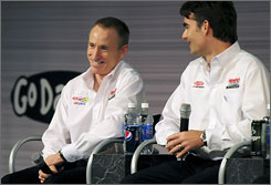 Mark Martin, left, meets the media as he settles in with new Hendrick Motorsports teammate Jeff Gordon.