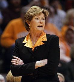 Tennessee coach Pat Summitt coaches her 17th-ranked Lady Vols during their win against Georgia which gave her 1,000 career wins.
