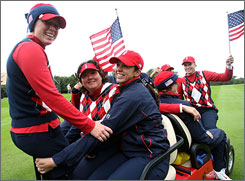 The United States team celebrated their Solheim Cup win in Sweden two years ago.