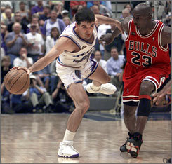 Chicago's Michael Jordan, right, and Utah's John Stockton wage battle in the 1998 NBA Finals.