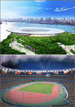 An interior and aerial view of the Olympic stadium proposed by the Tokyo 2016 bid committee.