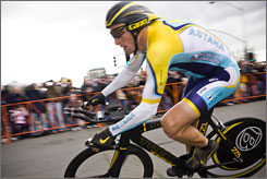 Lance Armstrong finished the prologue of the Tour of California in 10th place.